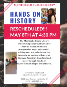 Monticello Library: Hands on History (RESCHEDULED) @ Monticello Public Library | Monticello | Wisconsin | United States