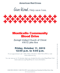 Monticello Community Blood Drive @ Zwingli United Church of Christ