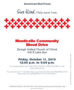 Monticello Community Blood Drive @ Zwingli United Church of Christ