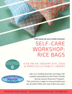 Self-Care Workshop: Rice Bags @ Monticello LIbrary