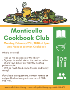 Cookbook Club: Any Pioneer Woman Cookbook @ Monticello Public Library