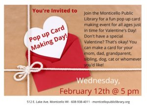 Pop Up Valentine's Day Cards @ Monticello Public Library