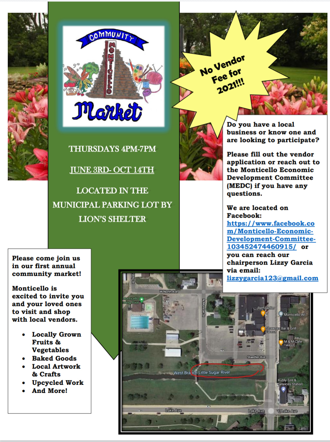Community Market @ Municipal Parking Lot near Lions Shelter | Monticello | Wisconsin | United States